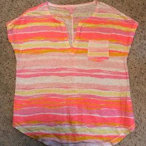 Lilly Pulitzer striped linen split neck top sz med